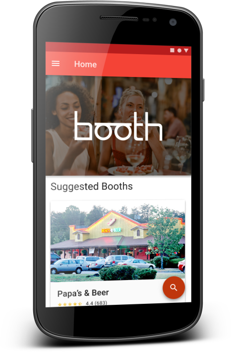 Mockup of booth mobile app.